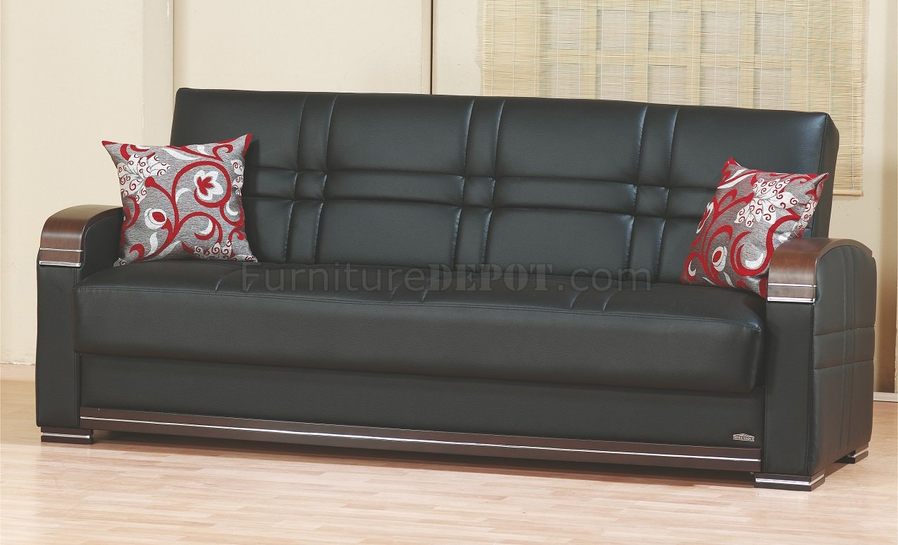 leatherette sofa durability mainstay leather sleeper bronx bed in black w optional loveseat