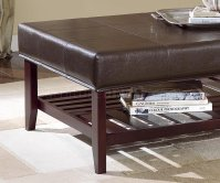 Brown Leather Top Mahogany Finish Coffee Table w/Lattice Shelf