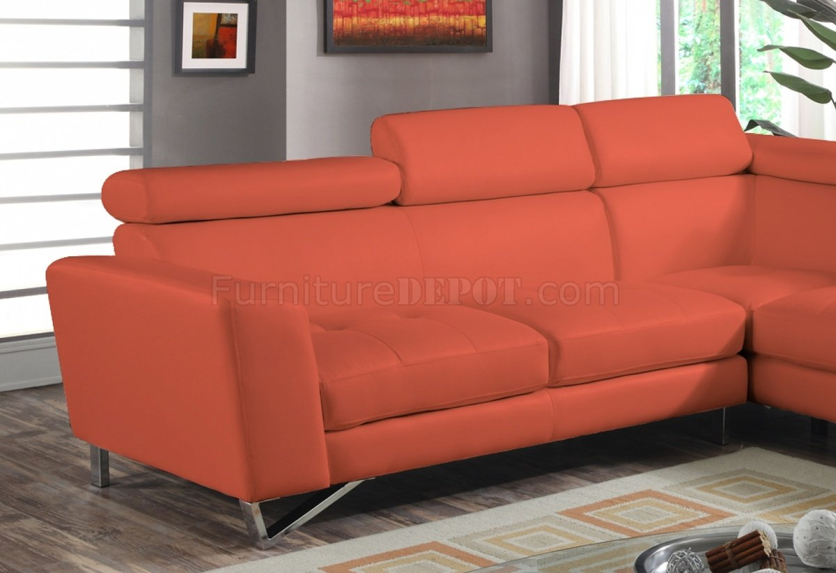 orange fabric sectional sofa fast score 4026 in sateen microfiber
