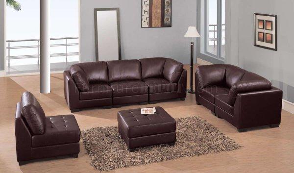 elegant leather living room furniture Brown Leather Elegant Contemporary Living Room with Tufted