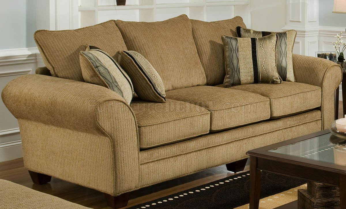 Beige Suede Fabric Modern Casual Sofa  Loveseat Set wOptions