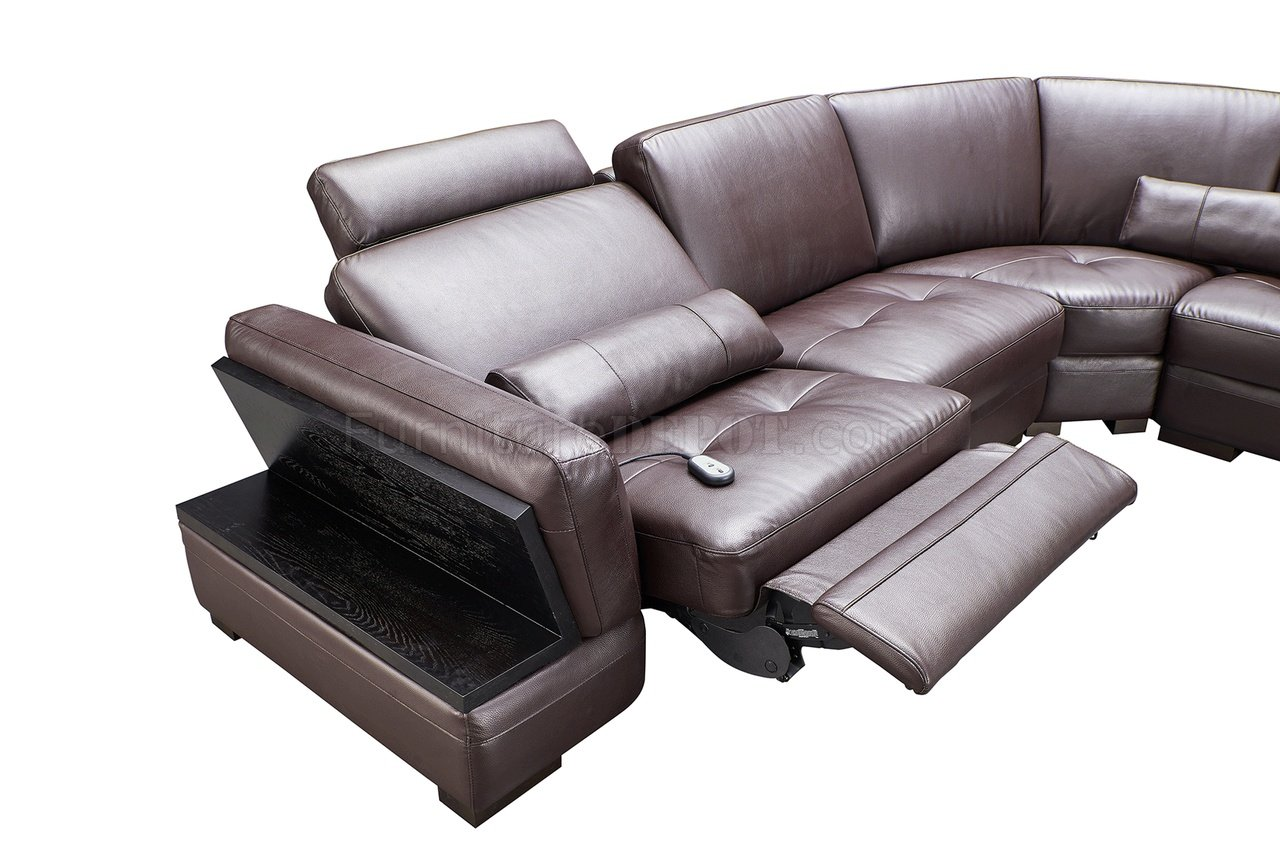 Brown Leather Sectional Chaise