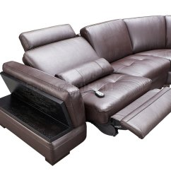 Brown Leather Sofa Recliner Seat Height Standard 445 Motion Sectional By Esf W Power