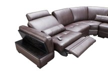 Motion Sectional Sofa Brown Leather Esf Withpower