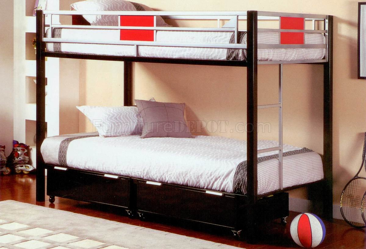 Black Metal Base Twin Over Twin Modern Bunk Bed
