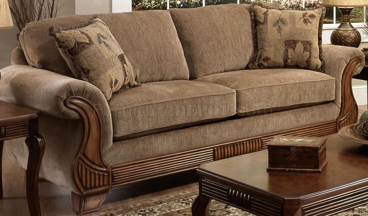 Tan Fabric Traditional Sofa  Loveseat Set wOptional Items