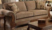 Tan Fabric Traditional Sofa & Loveseat Set w/Optional Items