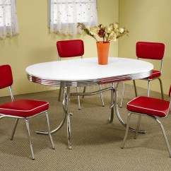 White Round Kitchen Table With 4 Chairs Dining And Done Deal Oval Top Chrome Base Modern 5pc Set W Red