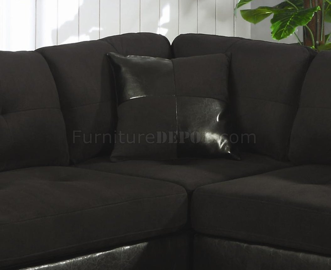 black microfiber sofa set fabric corner and faux leather contemporary sectional