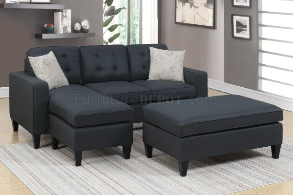 F6575 Sectional Sofa Withottoman In Black Fabric Poundex