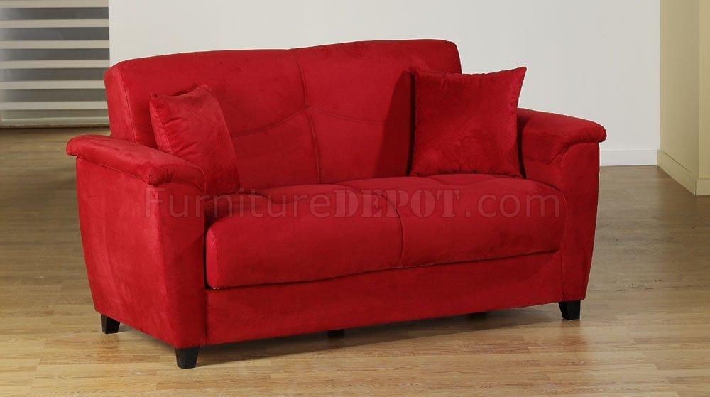 Red Microfiber Fabric Living Room Storage Sleeper Sofa