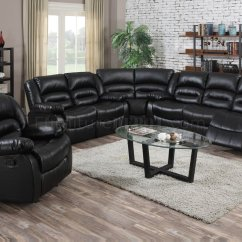 Leather Recliner Sectional Sofa Power Reclining Fabric 9171 In Black Bonded W ...