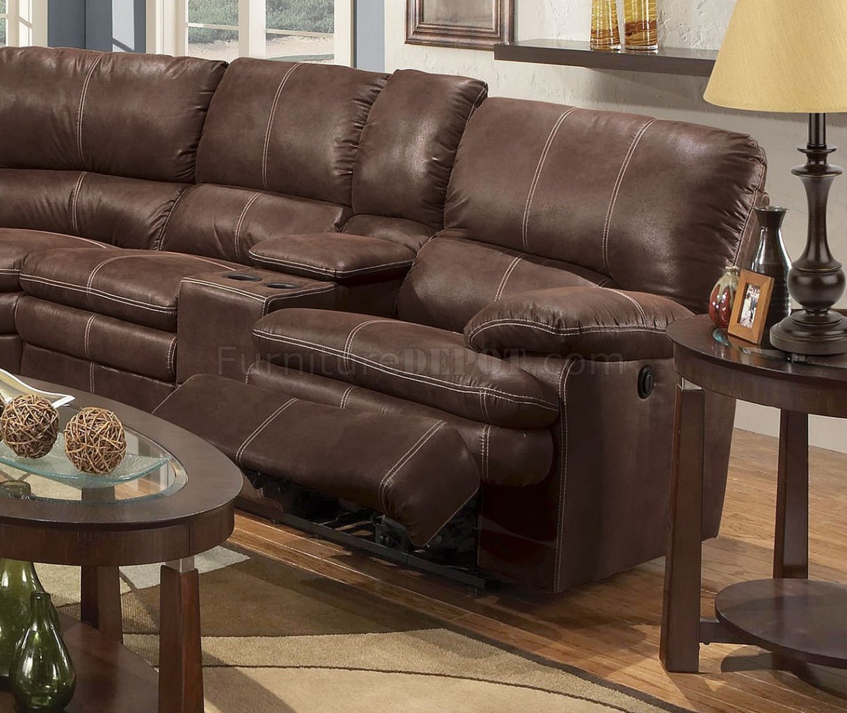 Rustic Brown Microfiber Modern Reclining Sectional