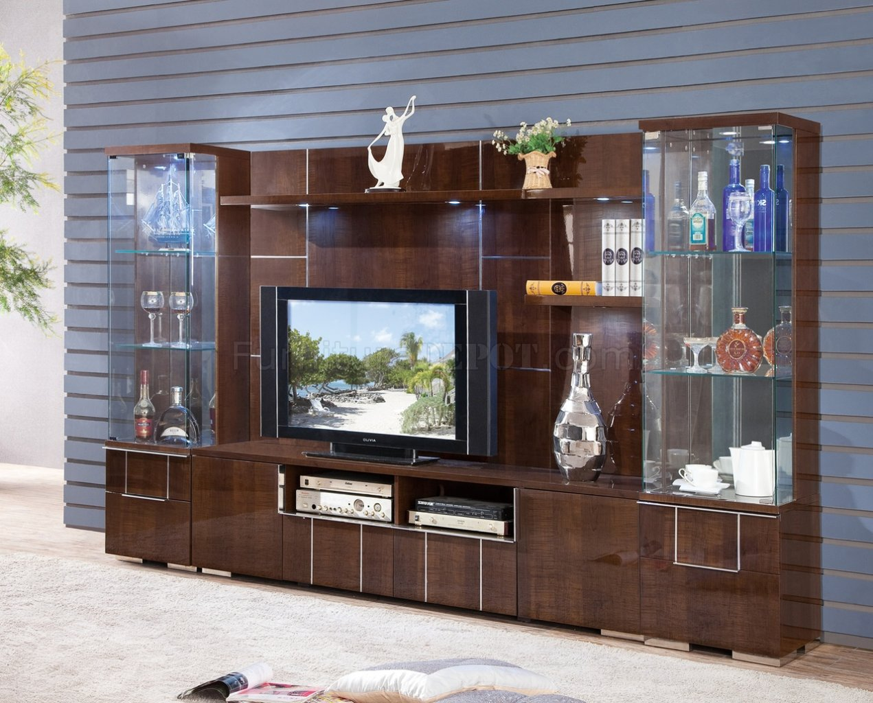 AV291 75 TV Stand In Dark Figured Sycamore By Pantek WOptions
