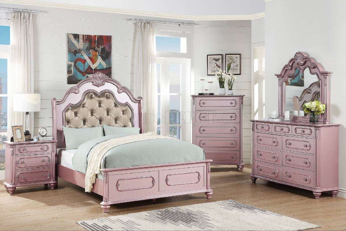 F9558 5pc Bedroom Set In Rose Gold Bronze By Poundex