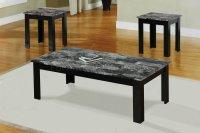 Black Faux Marble Top Modern 3Pc Coffee Table Set w/Wood Base