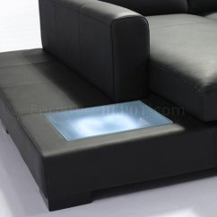 T35 Mini Modern White Leather Sectional Sofa 2 Seater L Shaped In Black Eco-leather W/ Light
