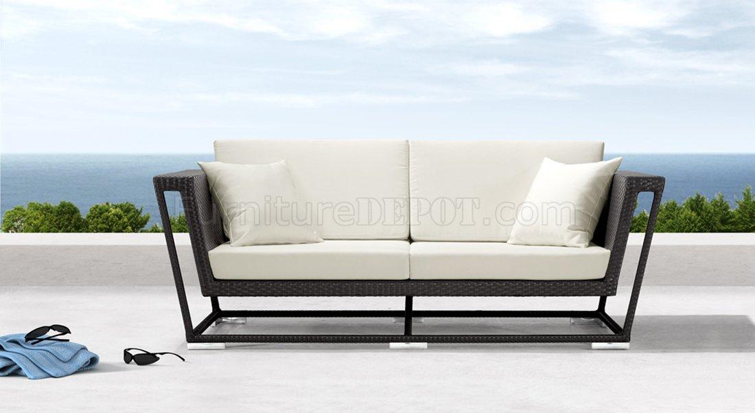 Black Weave Modern Outdoor Patio Sofa wWhite Cushions
