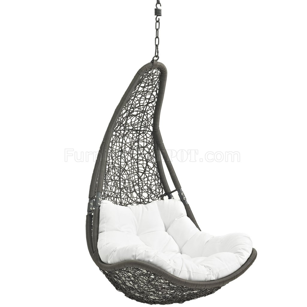 swing chair grey wide glider abate outdoor patio in gray and white by modway
