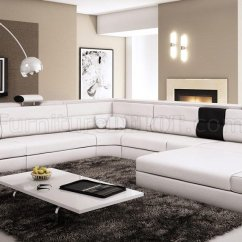 Modern Bonded Leather Sectional Sofa With Recliners Best Fabric For Cats Polaris In White By Vig ...
