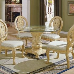 Antique White Dining Chairs Coalesse Bob Chair Traditional 5pc Set W Round Clear Glass Top