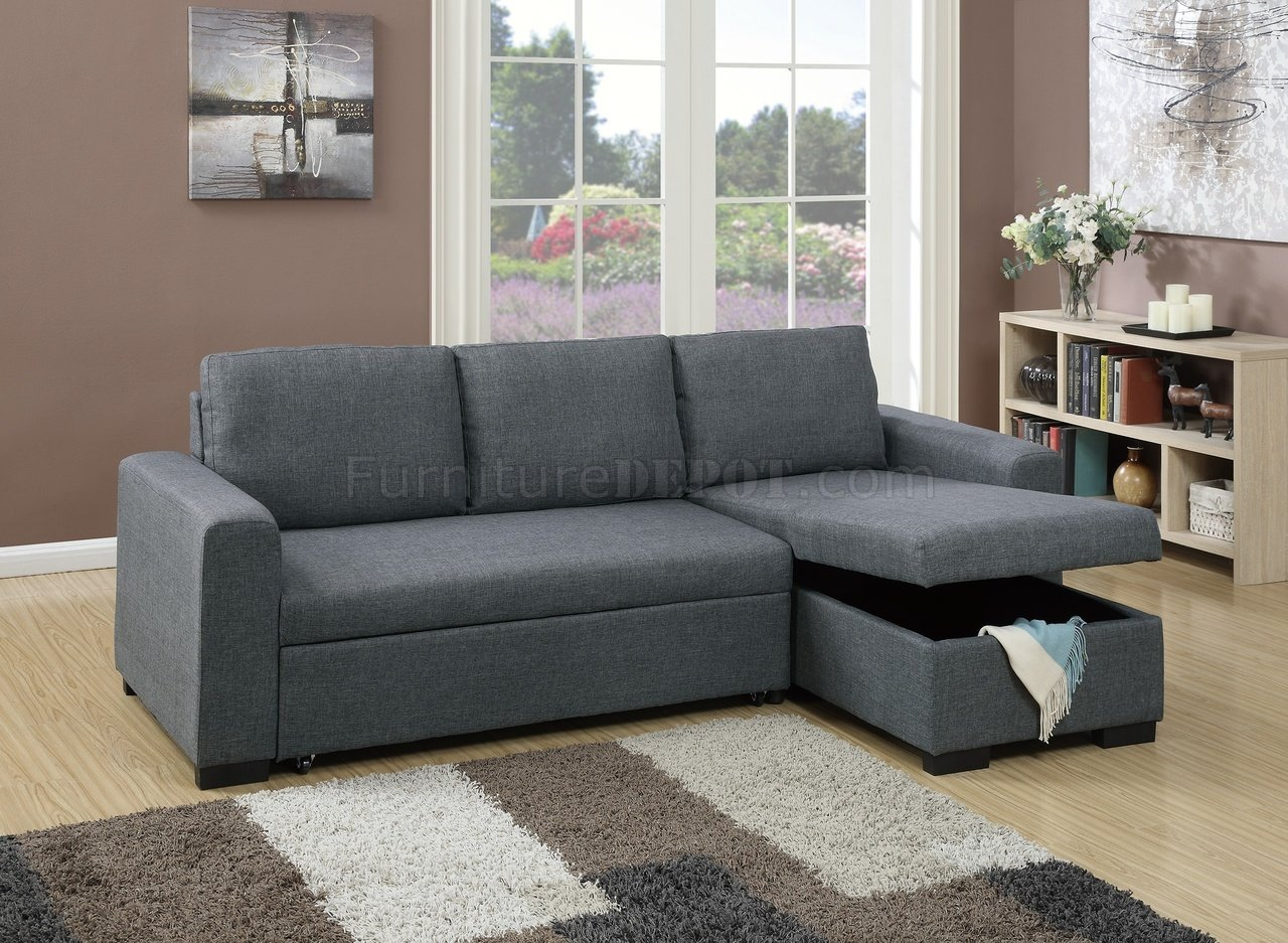 kensington 2 drawer storage sofa bed with footstool cheap sofas san antonio tx f6931 convertible sectional in grey fabric by boss
