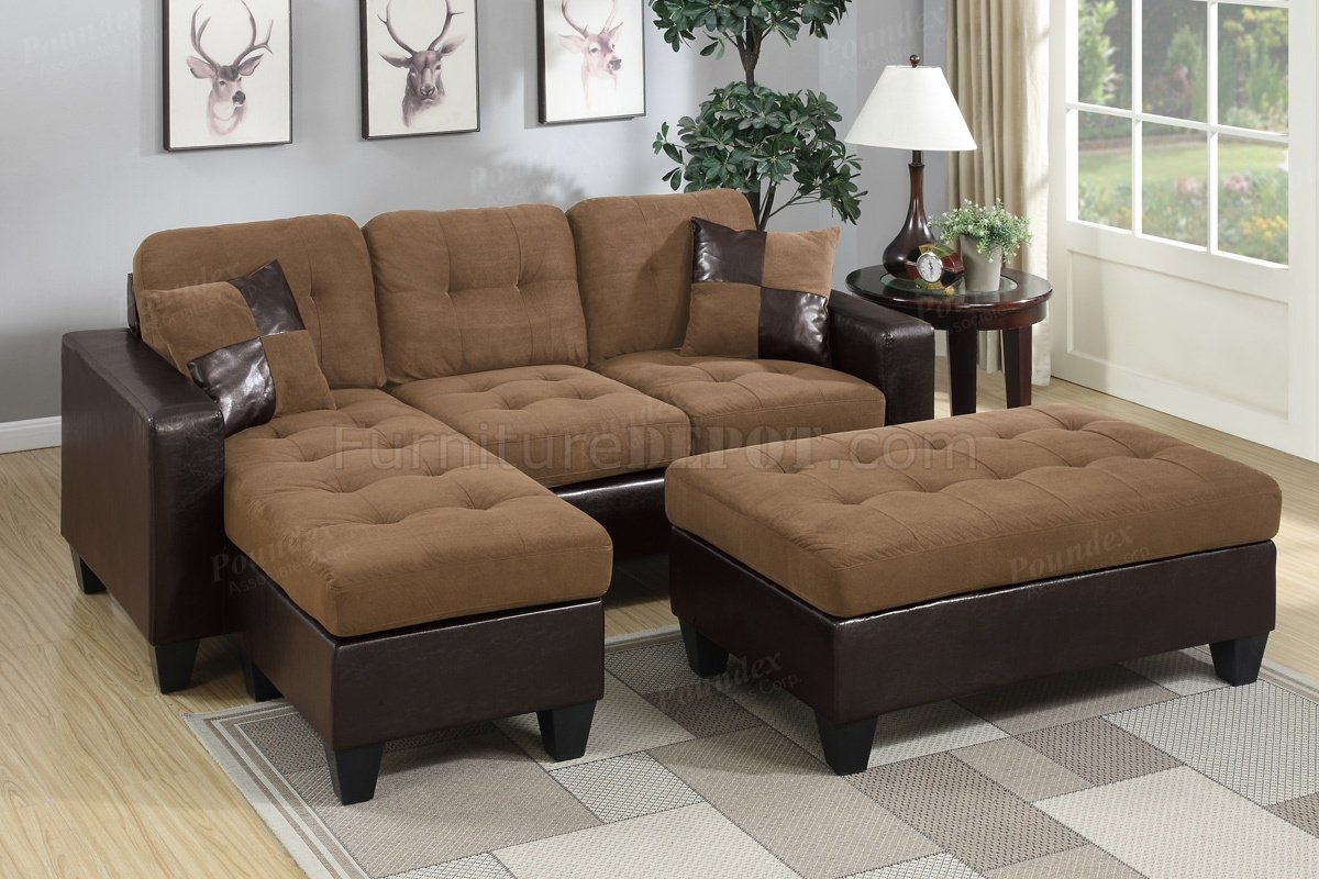 microfiber club chair with ottoman wood patio f6929 sectional sofa in saddle fabric by boss