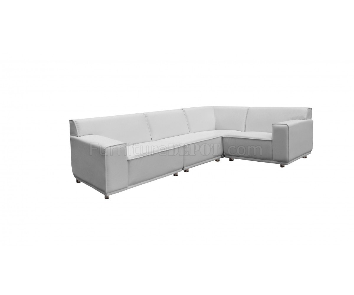 parker leather sofa reviews rounded table modular sectional in white faux by