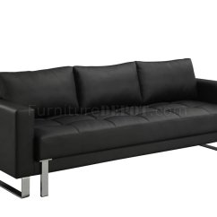 Contemporary Leather Sofa Bed Table With Baskets Black Faux W Tufted Seat