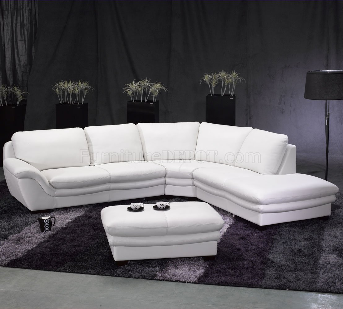 white leather sectional sofa with ottoman material for cats contemporary w
