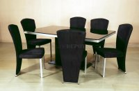 Black Glass Top Modern Elegant Dining Table w/Optional Chairs