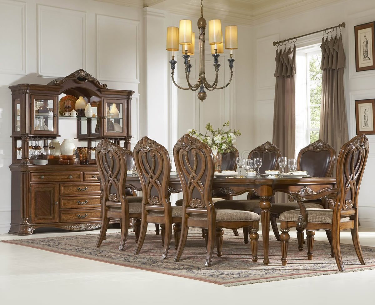 Caramel Finish Classic Dining Room Table wOptional Items
