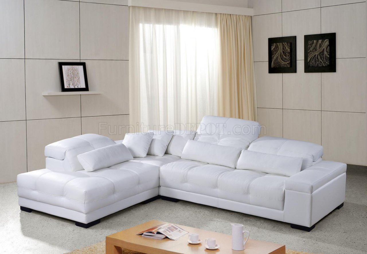 White Tufted Leather Modern Sectional Sofa wWooden Legs