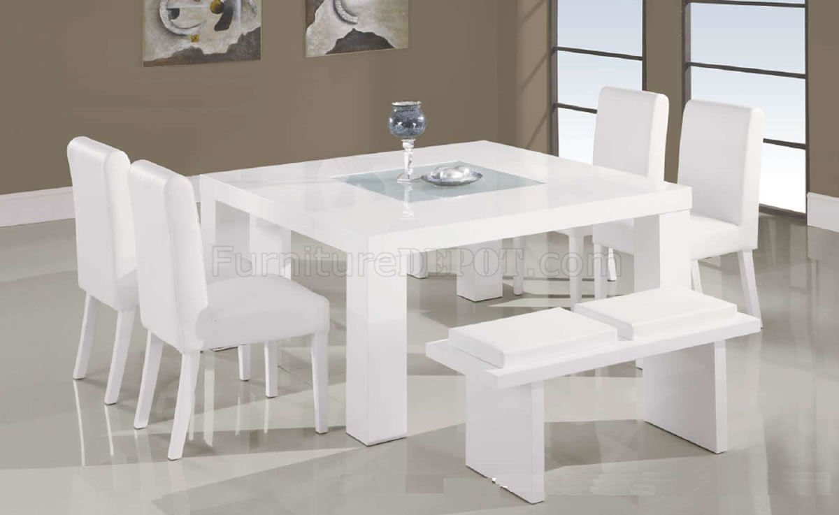 White Lacquer Finish Modern 7PC Dinette Set WGlass Inlay
