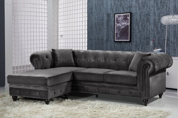 Sabrina Sectional Sofa 667 In Grey Velvet Fabric Meridian