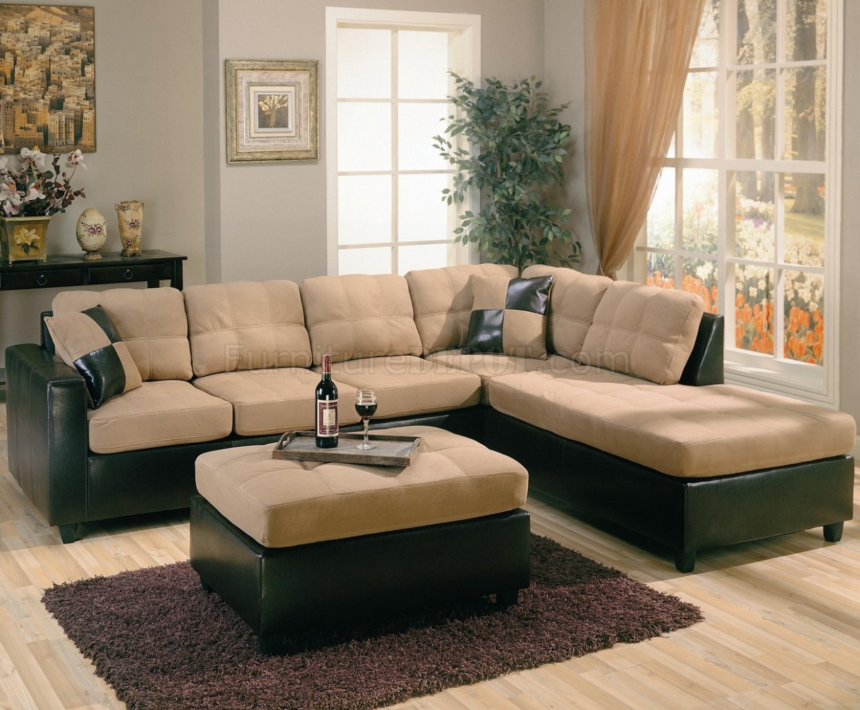 dark brown faux leather sectional sofa