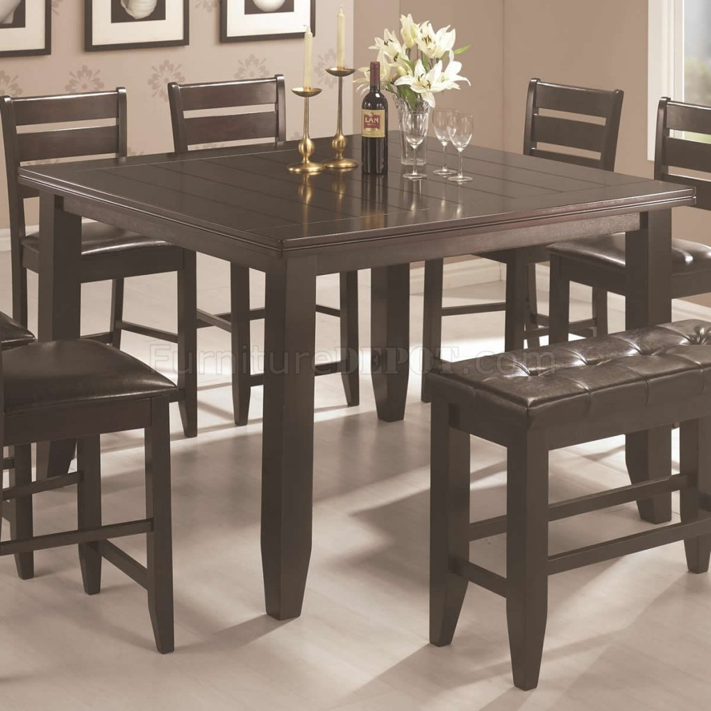 Dark Cappuccino Finish Modern 8pc Counter Height Dining Set