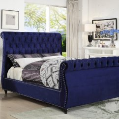 Modern Fabric Sofa Set Reupholstery Cost Melbourne Dakota Bed In Navy Velvet By Meridian W/options