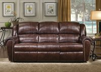 Cognac Brown Bonded Leather Sofa & Chair Set w/Reclining Seats