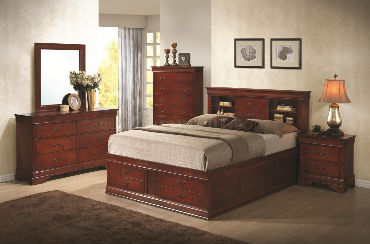 sofa set designs with storage electric recliner problems louis philippe 200439 bedroom in cherry by coaster w/options