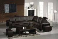 3330 Espresso Leather Modern Sectional Sofa w/Coffee Table