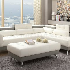White Bonded Leather Sectional Sofa Set With Light Comfortable Apartment Size F6979 And Grey By Boss