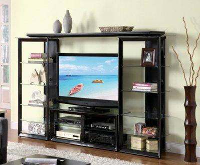 Gloss Black Modern Entertainment Wall Unit wGlass Shelves