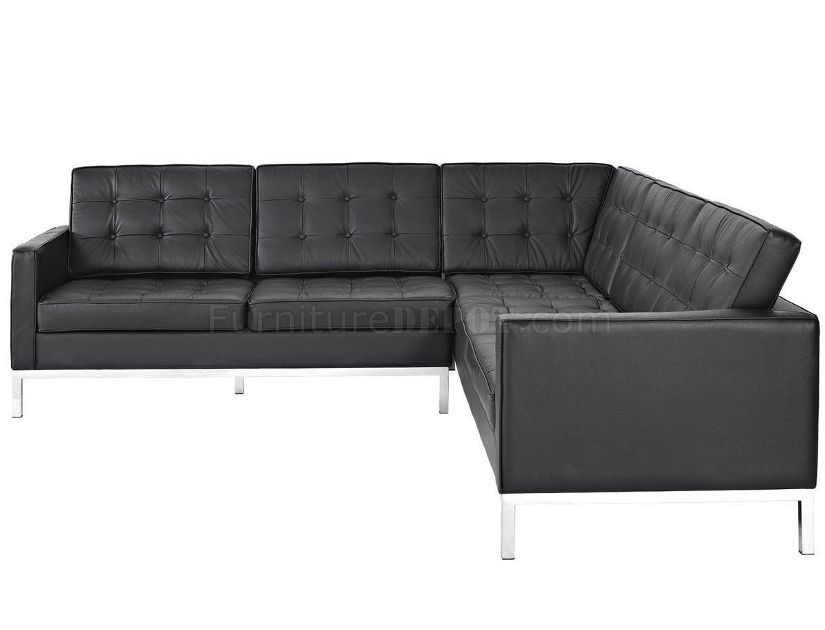 l shaped black leather sofa set patterned covers loft sectional in by modway