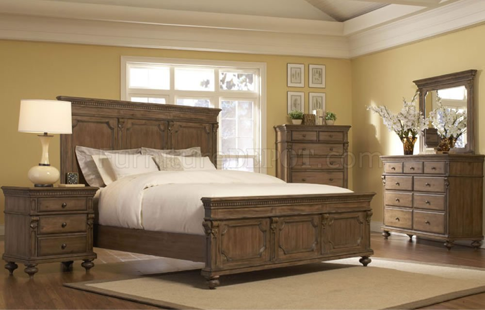 Gray Driftwood Traditional Bedroom WPanel Bed Amp Optional