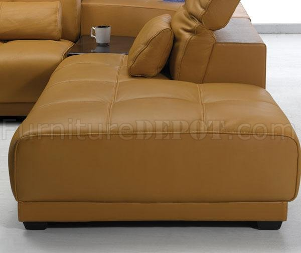 Camel Leather Modern Sectional Sofa 697