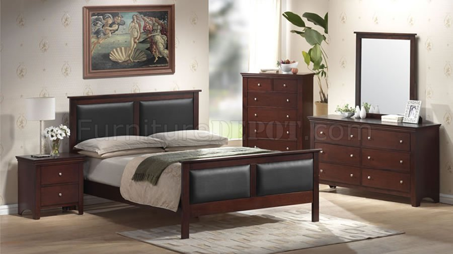 Mahogany Color Contemporary Bedroom Set With Leather Upholstery