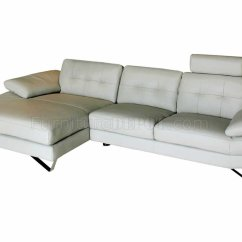 Light Grey Leather Sofa Modular Sofas Contemporary Modern Sectional W Removable Headrests