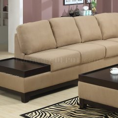 Contemporary Sofa With Wood Trim Queen Bed Mocha Padded Suede Modern Sectional W Dark