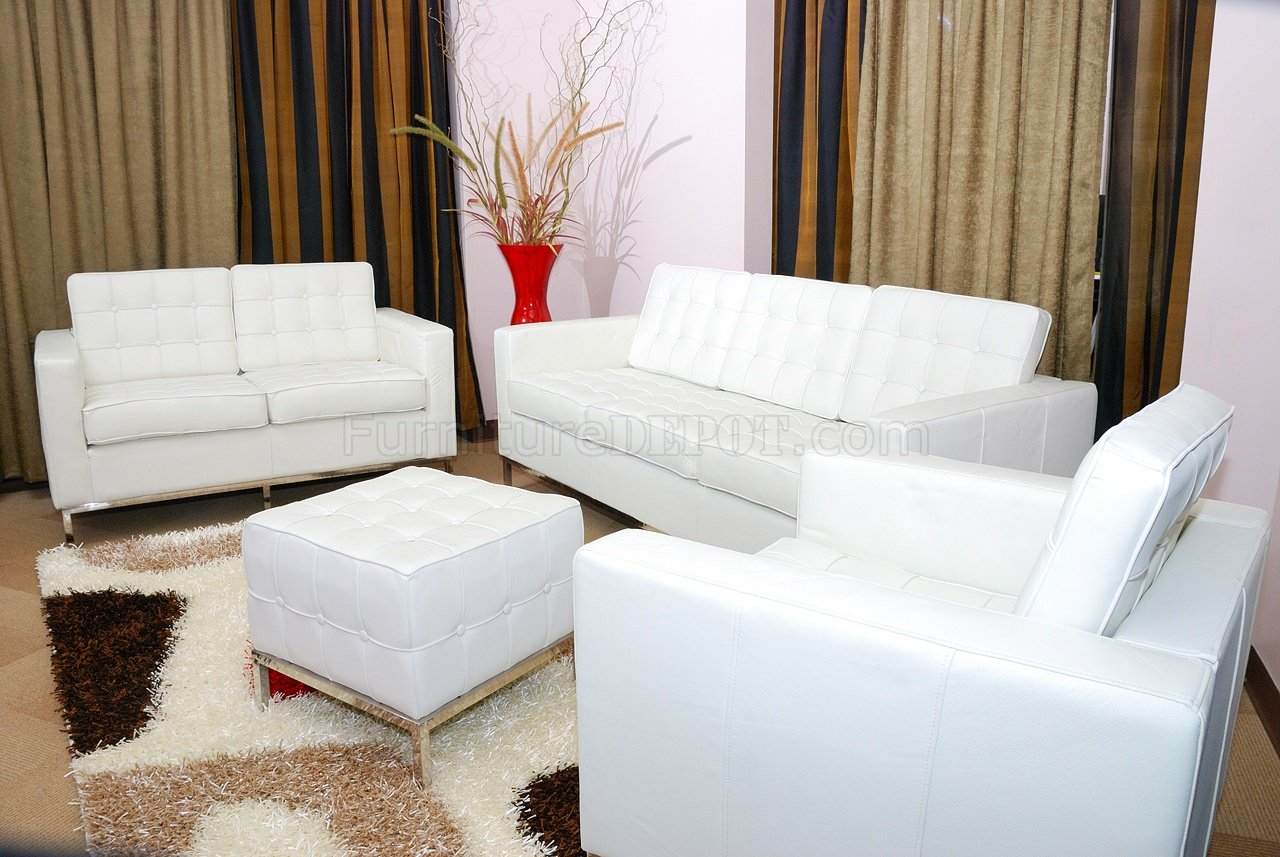 living room sofa two chairs solid wood furniture sets white button tufted full leather ottoman set